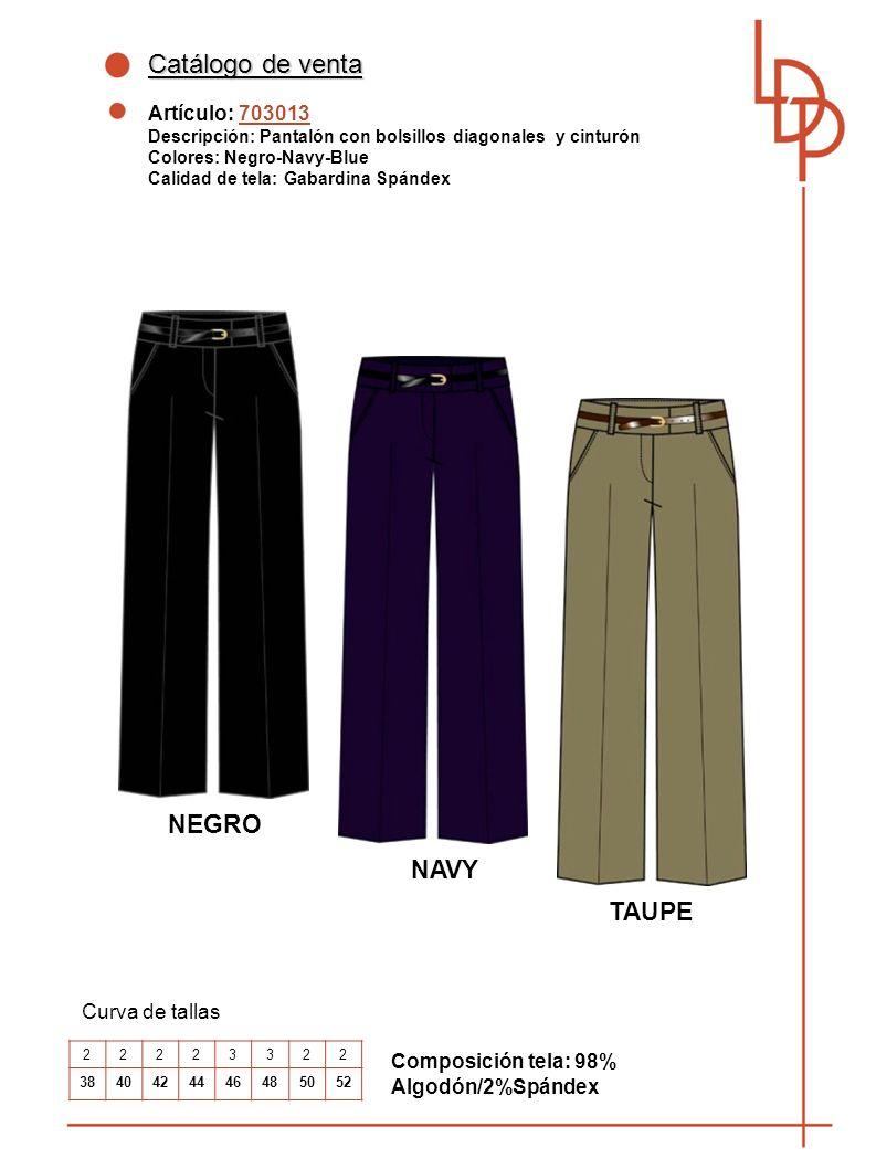 Catálogo de venta NEGRO NAVY TAUPE Artículo: 703013 Curva de tallas