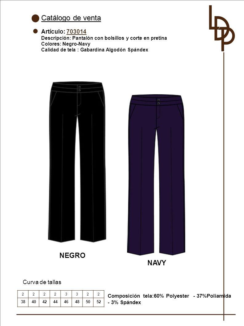 Catálogo de venta NEGRO NAVY Artículo: 703014 Curva de tallas