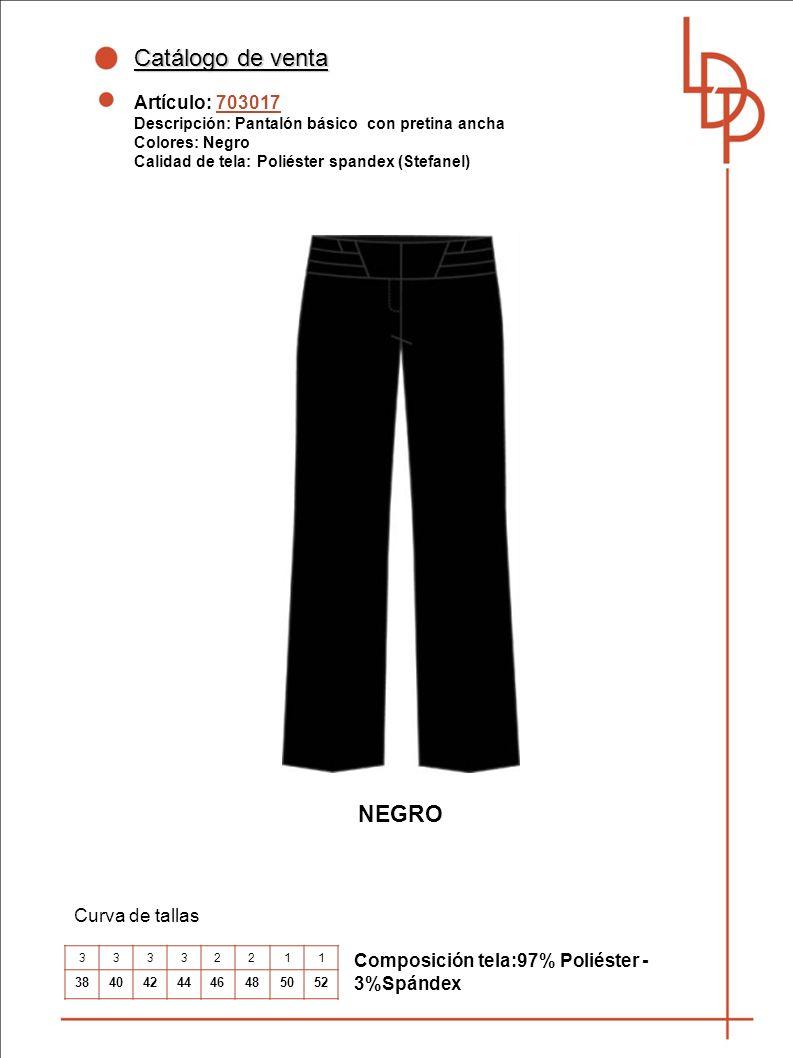 Catálogo de venta NEGRO Artículo: 703017 Curva de tallas