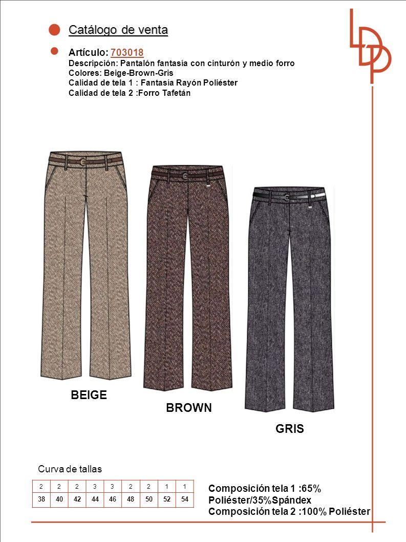 Catálogo de venta BEIGE BROWN GRIS Artículo: 703018 Curva de tallas
