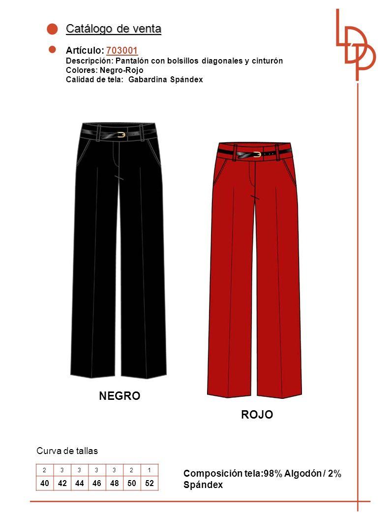 Catálogo de venta NEGRO ROJO Artículo: 703001 Curva de tallas