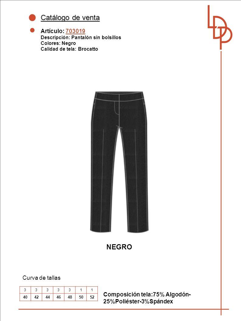 Catálogo de venta NEGRO Artículo: 703019 Curva de tallas