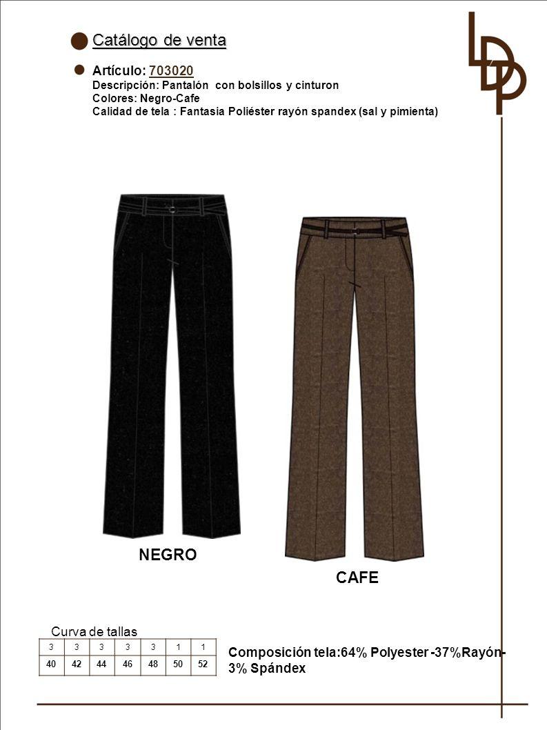 Catálogo de venta NEGRO CAFE Artículo: 703020 Curva de tallas