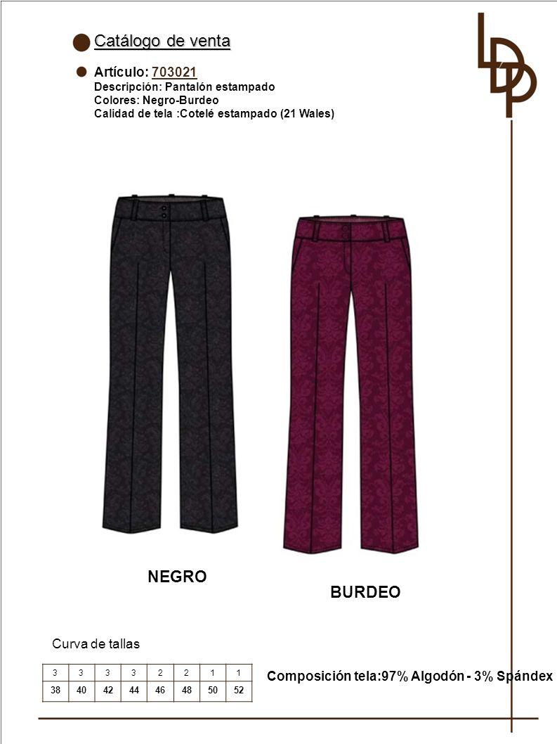 Catálogo de venta NEGRO BURDEO Artículo: 703021 Curva de tallas