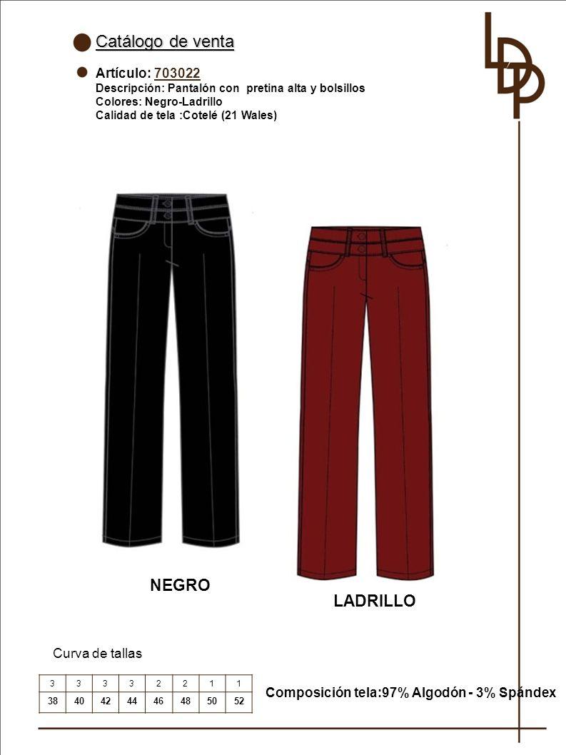 Catálogo de venta NEGRO LADRILLO Artículo: 703022 Curva de tallas