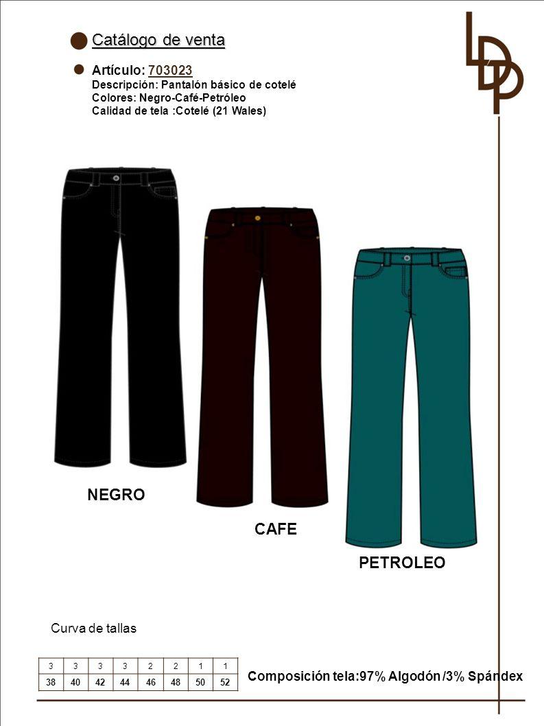 Catálogo de venta NEGRO CAFE PETROLEO Artículo: 703023 Curva de tallas