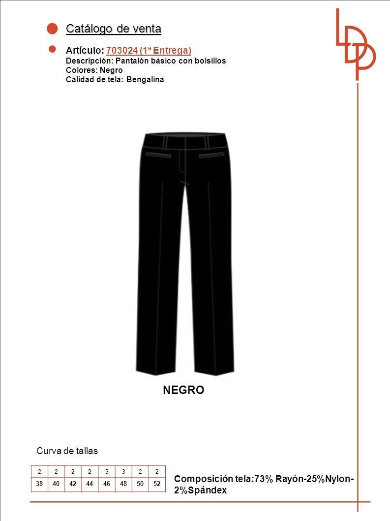 Catálogo de venta NEGRO Artículo: 703024 (1ª Entrega) Curva de tallas