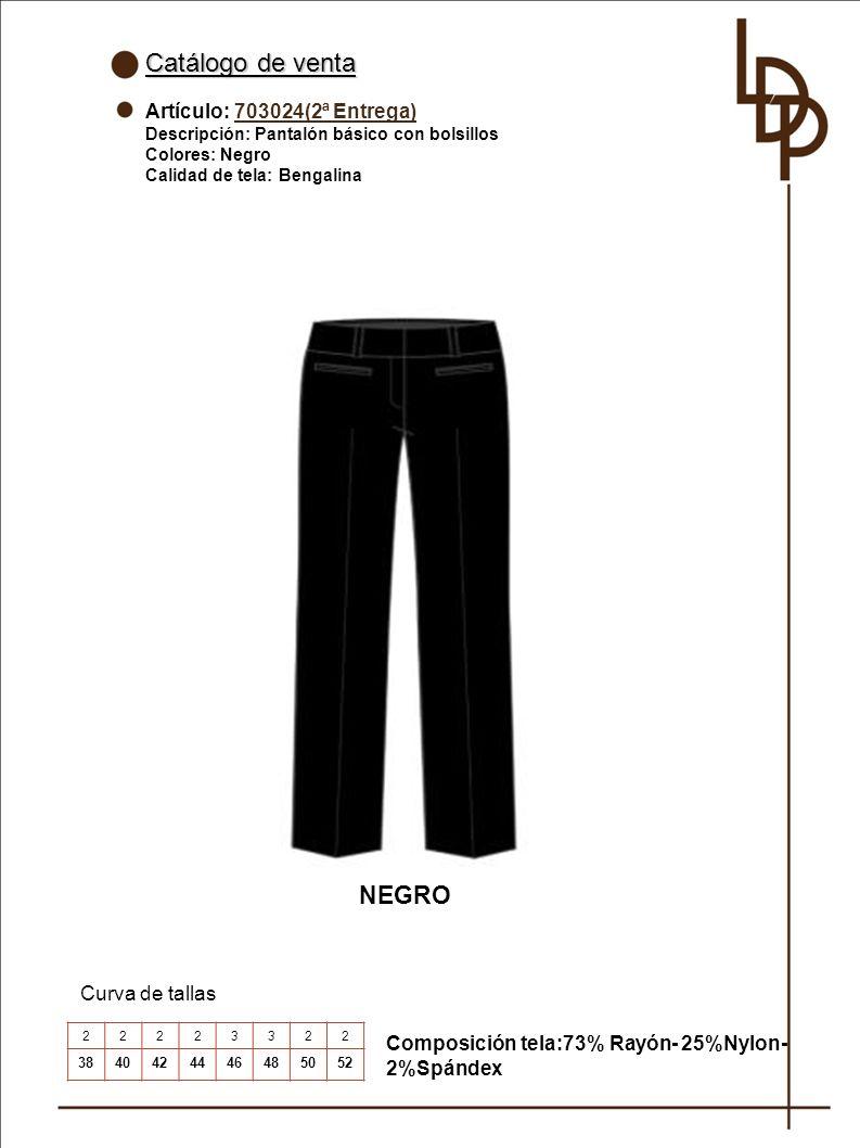 Catálogo de venta NEGRO Artículo: 703024(2ª Entrega) Curva de tallas