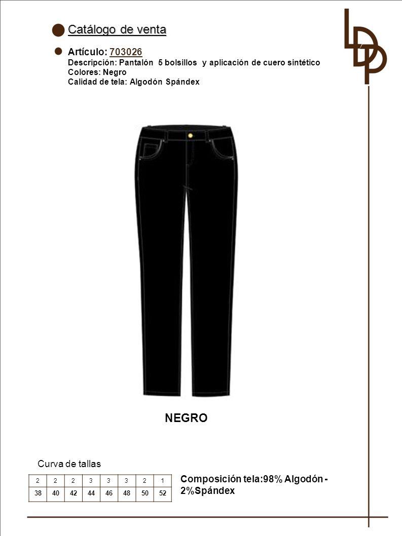 Catálogo de venta NEGRO Artículo: 703026 Curva de tallas