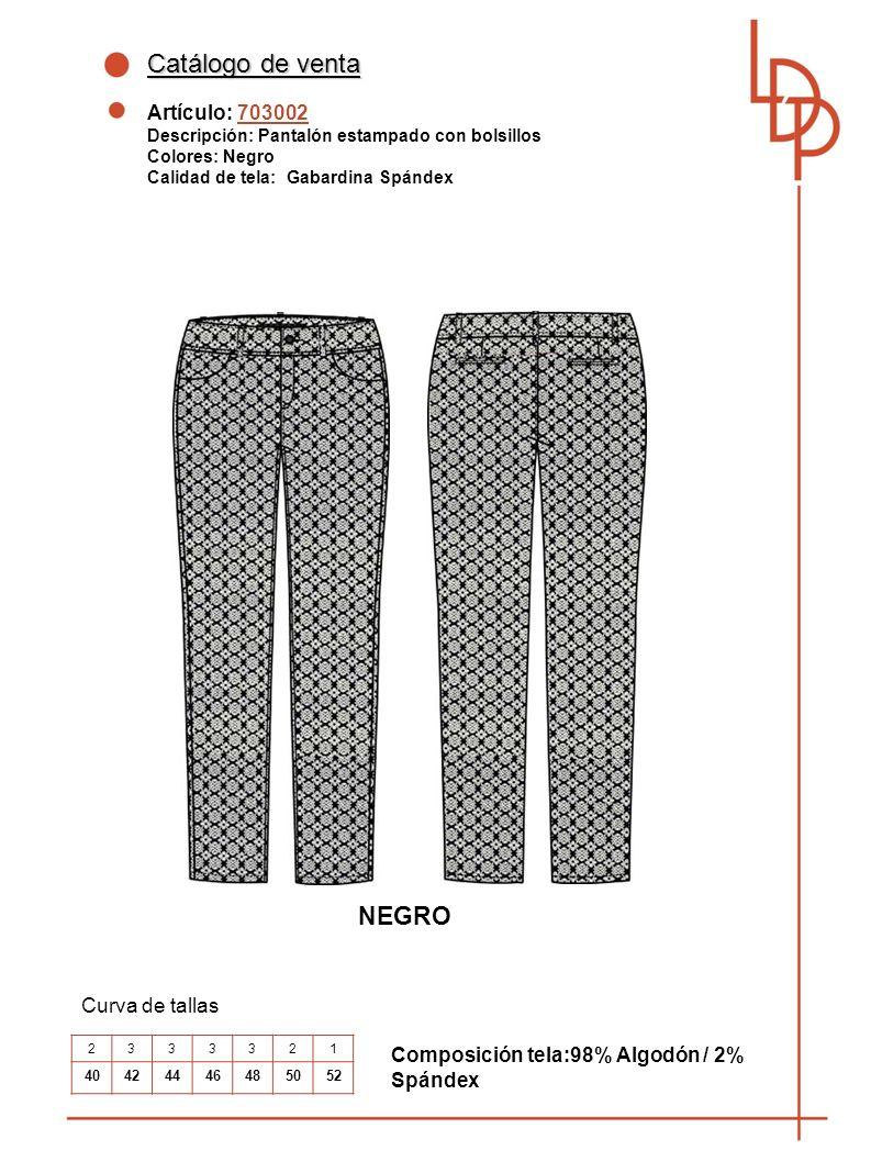 Catálogo de venta NEGRO Artículo: 703002 Curva de tallas