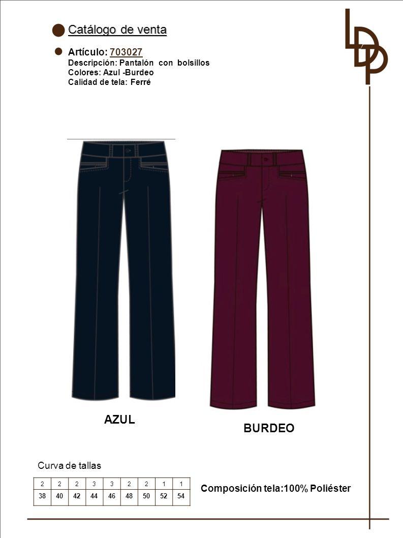 Catálogo de venta AZUL BURDEO Artículo: 703027 Curva de tallas