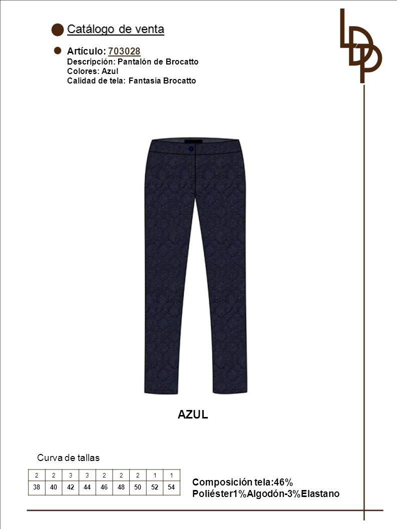 Catálogo de venta AZUL Artículo: 703028 Curva de tallas