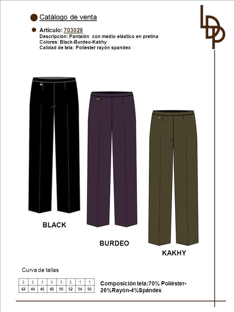Catálogo de venta BLACK BURDEO KAKHY Artículo: 703029 Curva de tallas