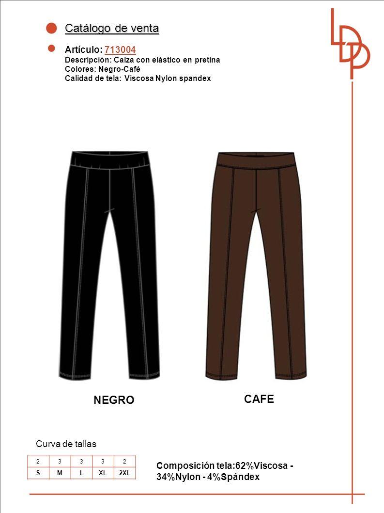 Catálogo de venta NEGRO CAFE Artículo: 713004 Curva de tallas