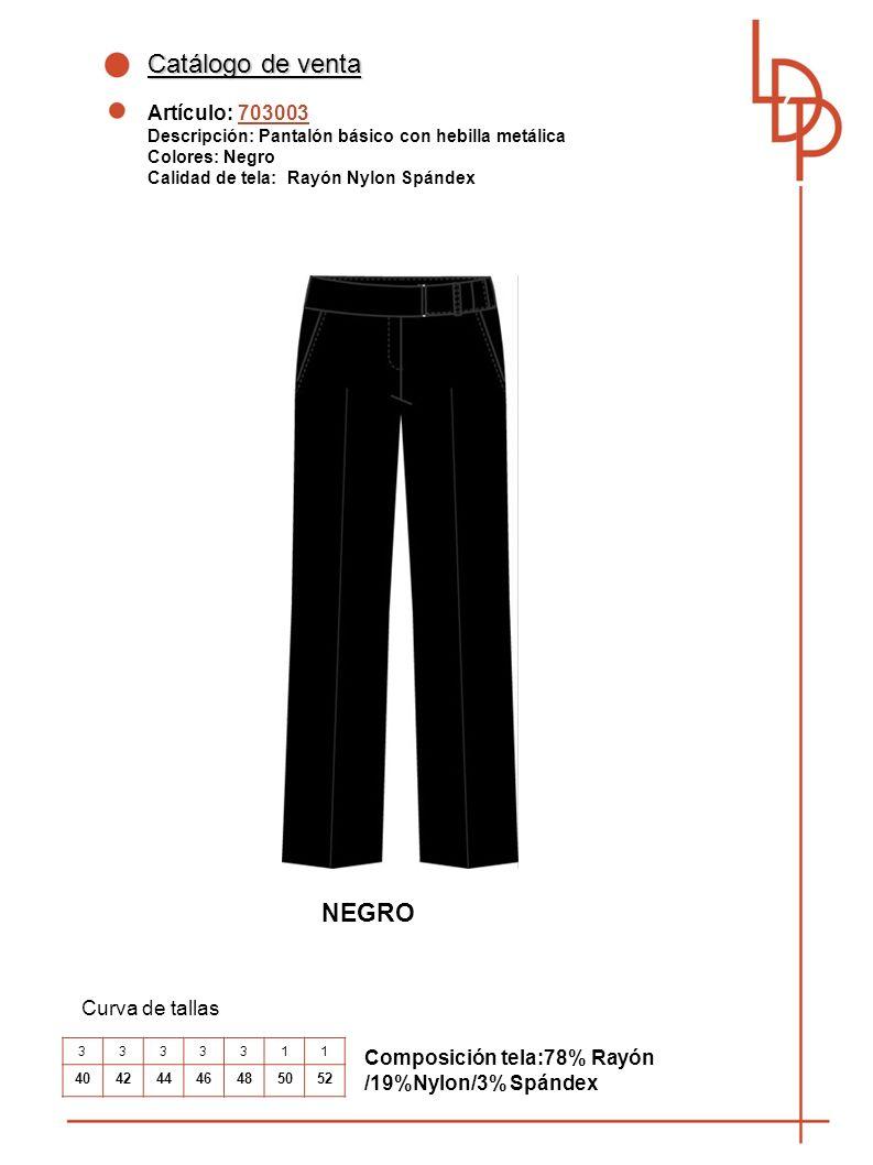 Catálogo de venta NEGRO Artículo: 703003 Curva de tallas