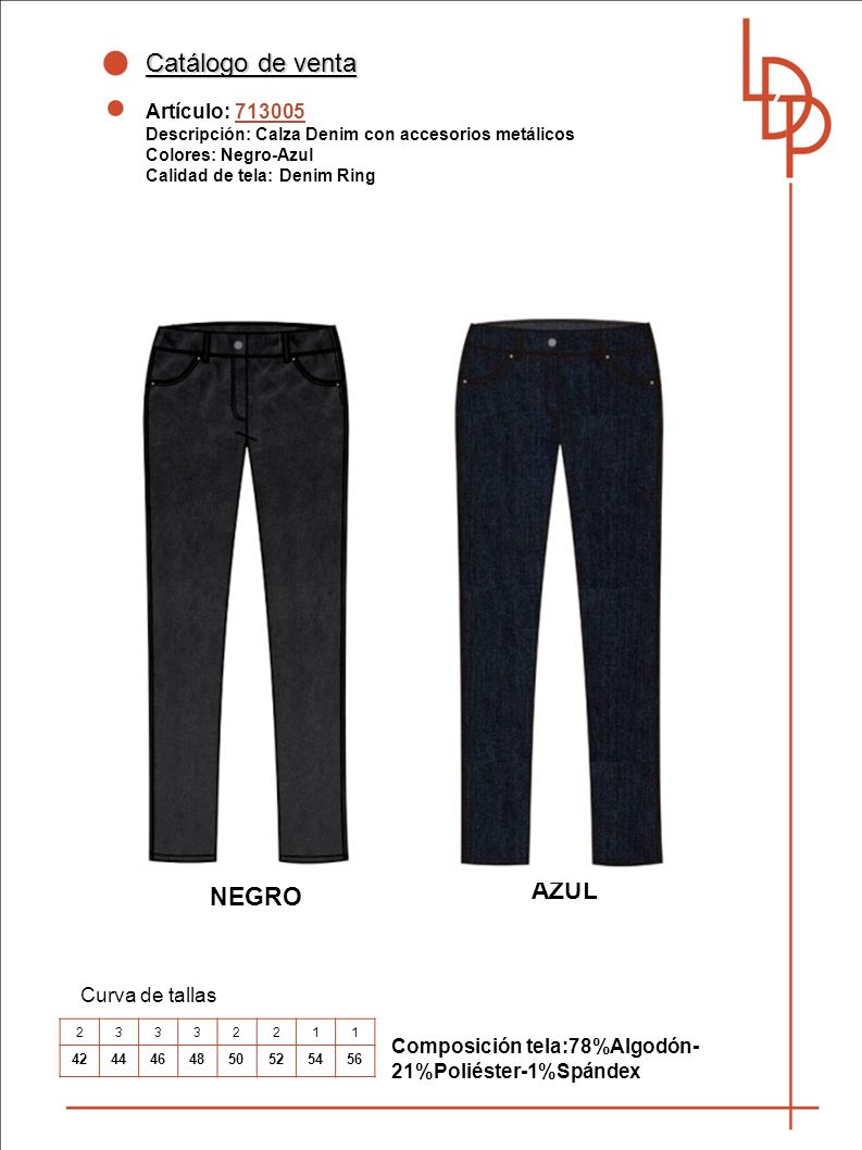 Catálogo de venta AZUL NEGRO Artículo: 713005 Curva de tallas