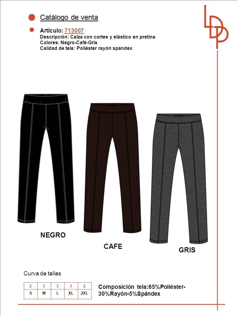 Catálogo de venta NEGRO CAFE GRIS Artículo: 713007 Curva de tallas