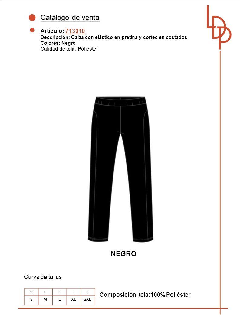 Catálogo de venta NEGRO Artículo: 713010 Curva de tallas