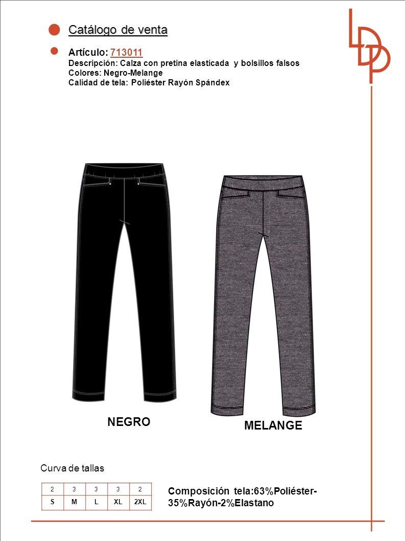 Catálogo de venta NEGRO MELANGE Artículo: 713011 Curva de tallas