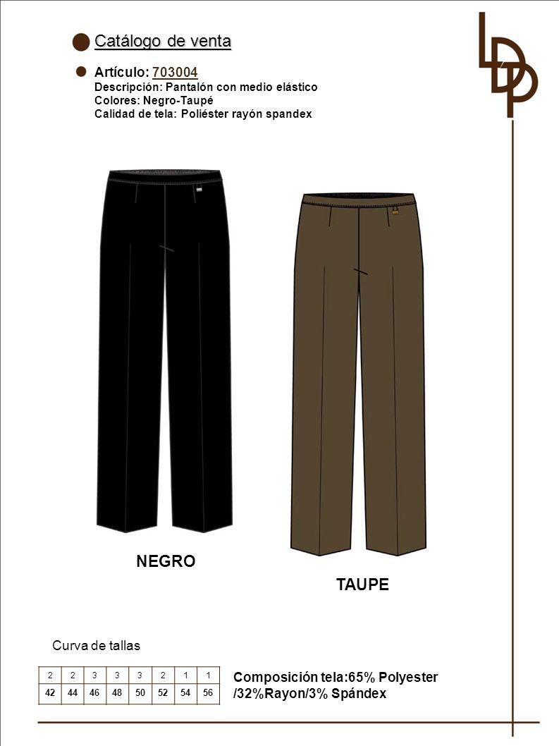 Catálogo de venta NEGRO TAUPE Artículo: 703004 Curva de tallas