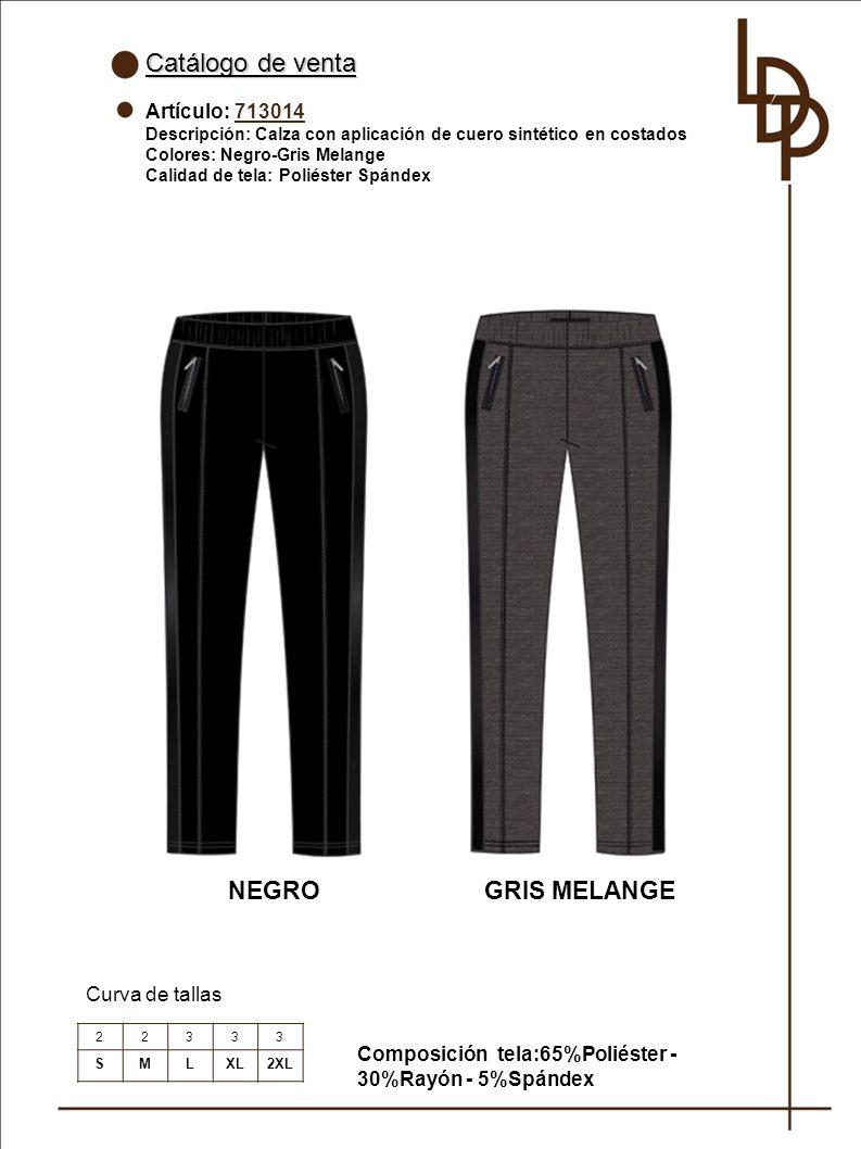 Catálogo de venta NEGRO GRIS MELANGE Artículo: 713014 Curva de tallas