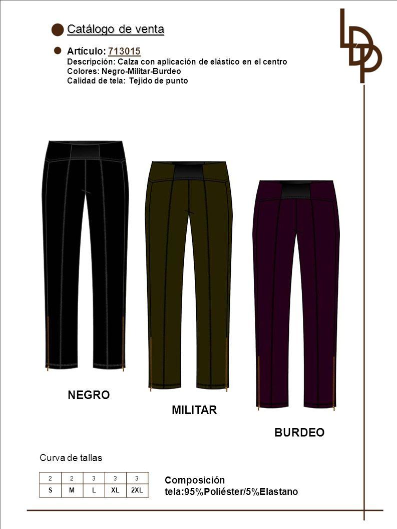 Catálogo de venta NEGRO MILITAR BURDEO Artículo: 713015