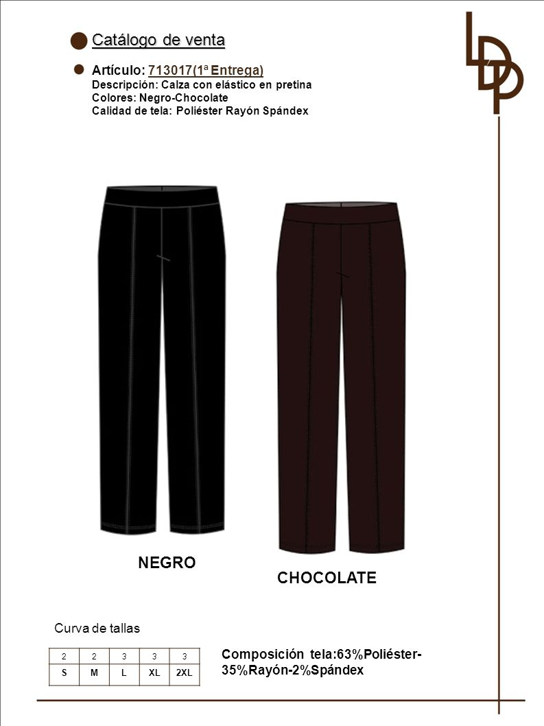 Catálogo de venta NEGRO CHOCOLATE Artículo: 713017(1ª Entrega)