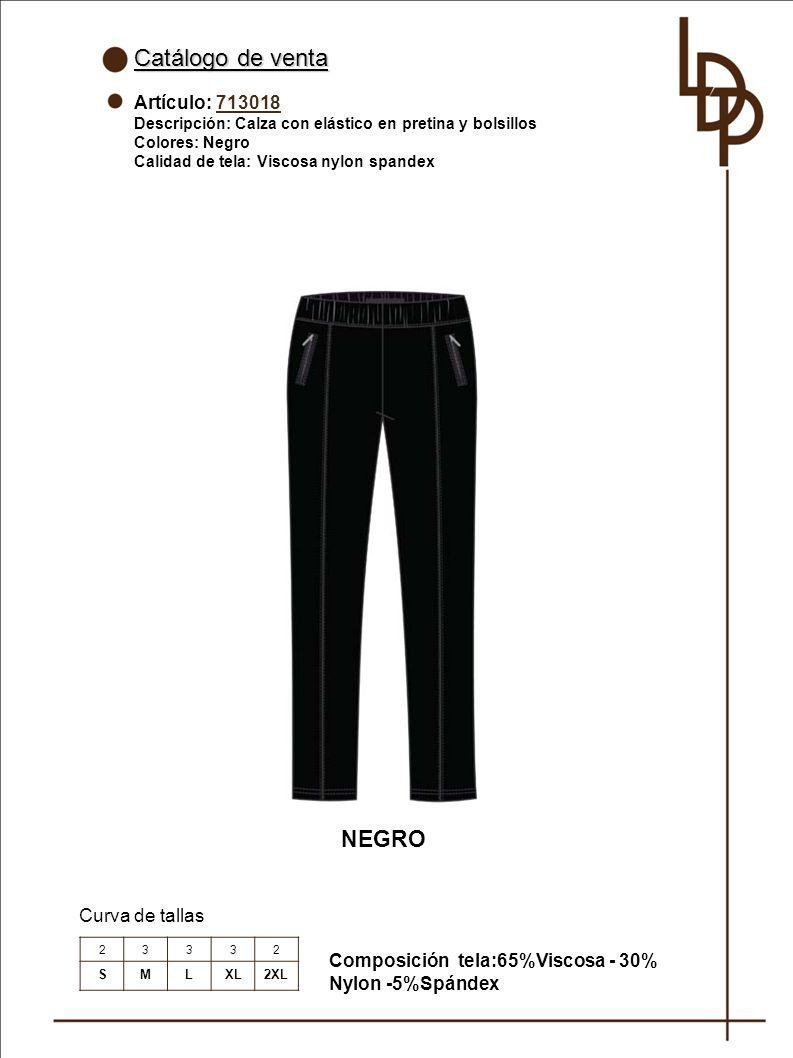 Catálogo de venta NEGRO Artículo: 713018 Curva de tallas