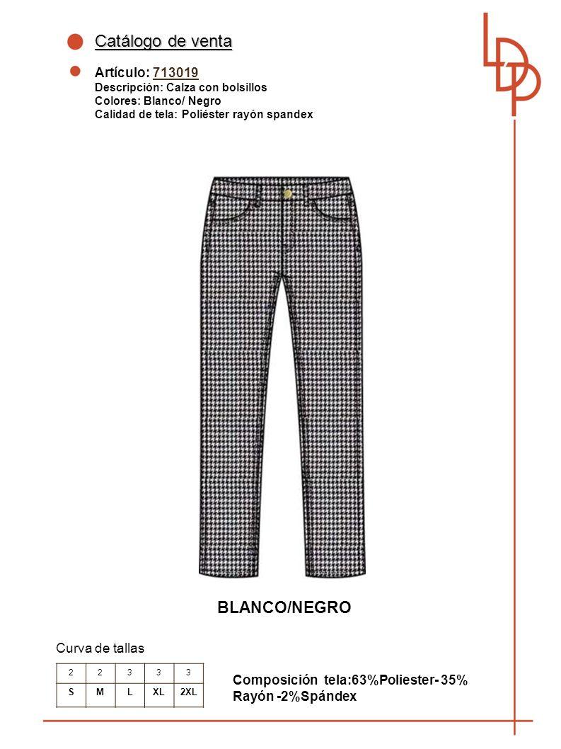 Catálogo de venta BLANCO/NEGRO Artículo: 713019 Curva de tallas