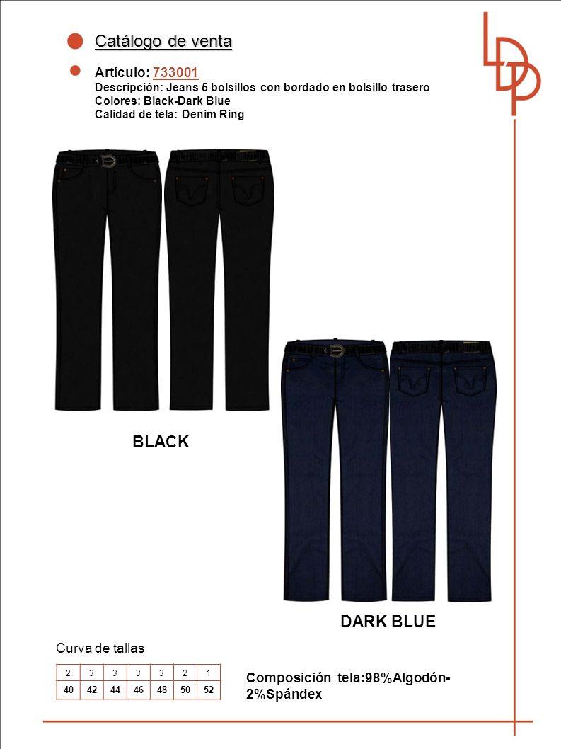 Catálogo de venta BLACK DARK BLUE Artículo: 733001 Curva de tallas