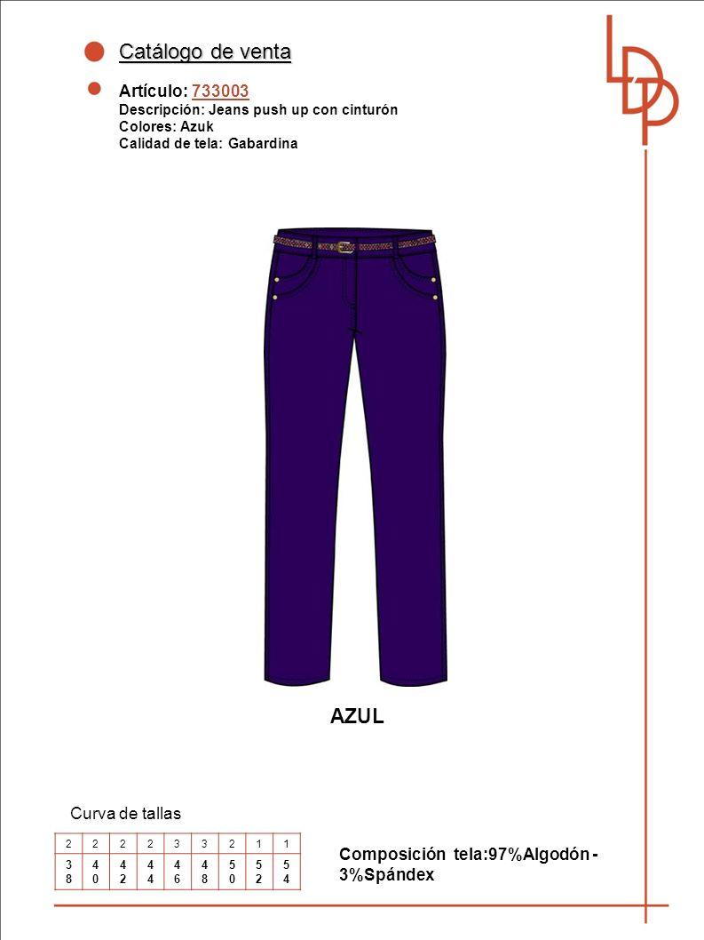 Catálogo de venta AZUL Artículo: 733003 Curva de tallas