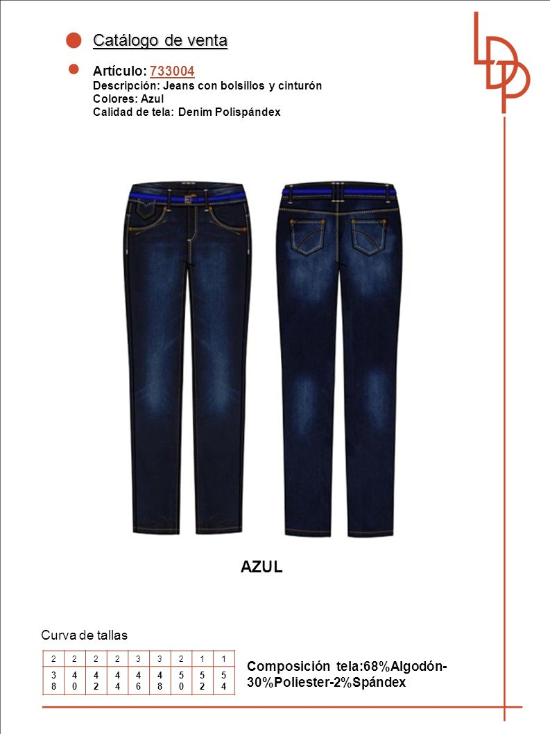 Catálogo de venta AZUL Artículo: 733004 Curva de tallas