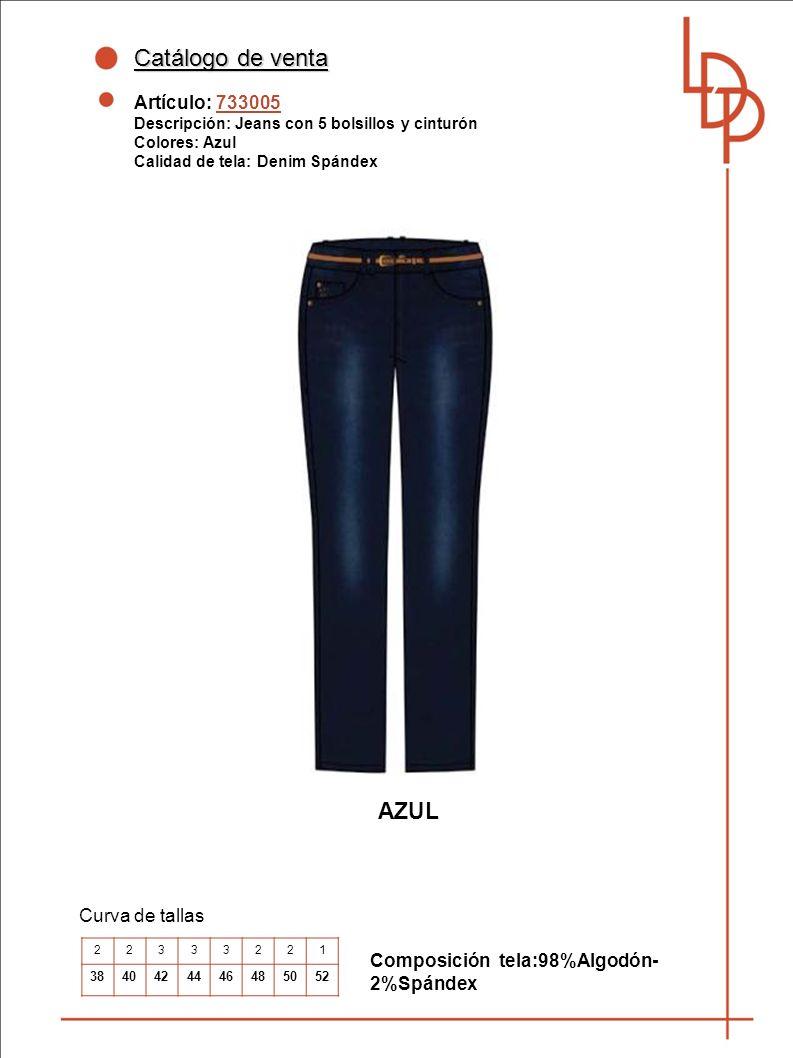 Catálogo de venta AZUL Artículo: 733005 Curva de tallas
