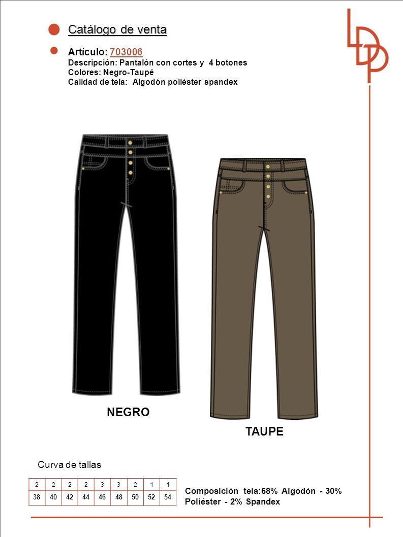 Catálogo de venta NEGRO TAUPE Artículo: 703006 Curva de tallas