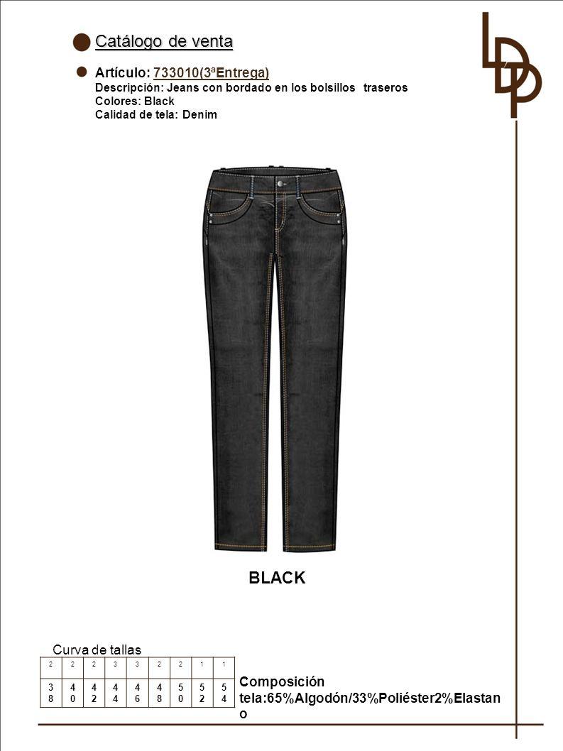 Catálogo de venta BLACK Artículo: 733010(3ªEntrega) Curva de tallas