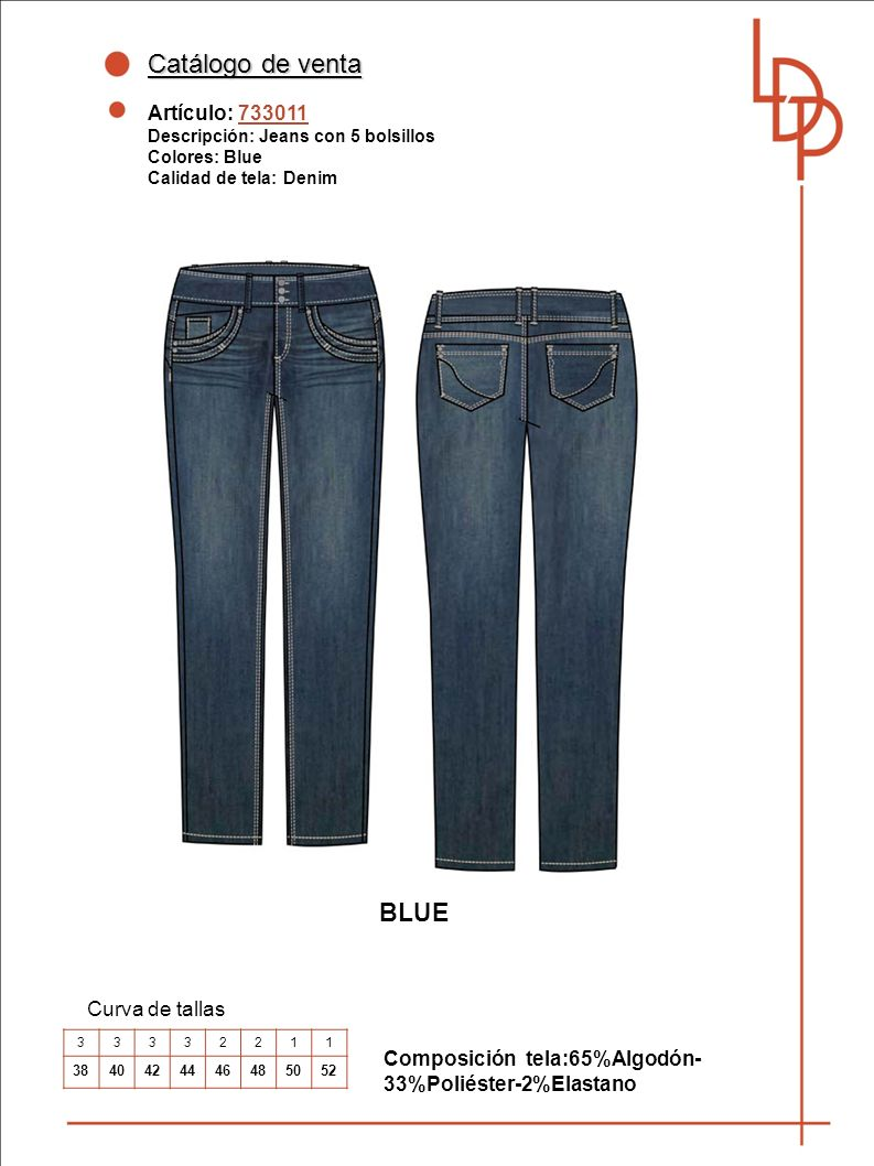 Catálogo de venta BLUE Artículo: 733011 Curva de tallas