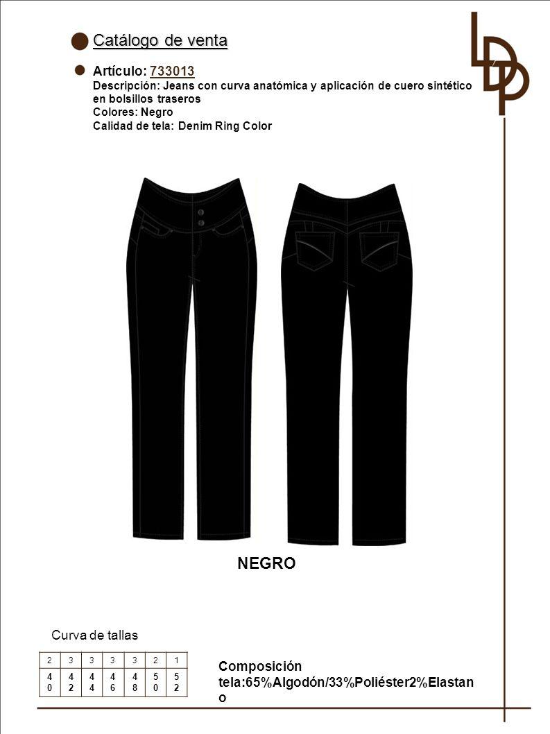 Catálogo de venta NEGRO Artículo: 733013 Curva de tallas