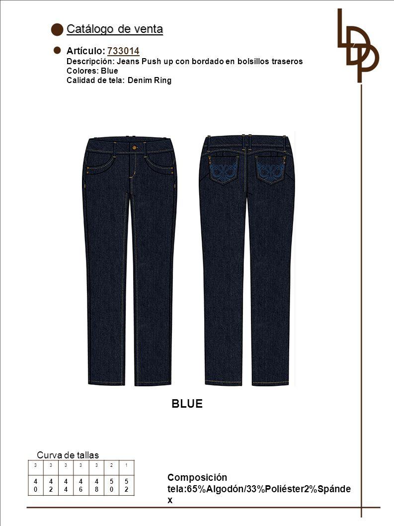 Catálogo de venta BLUE Artículo: 733014 Curva de tallas