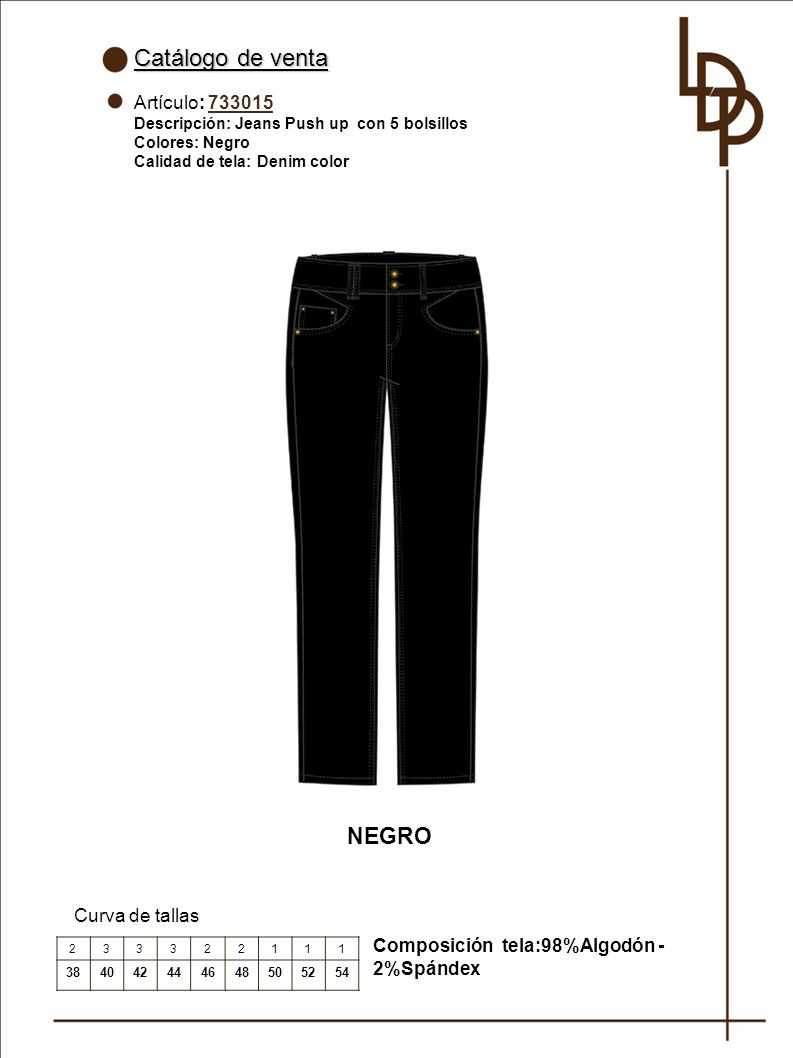 Catálogo de venta NEGRO Artículo: 733015 Curva de tallas