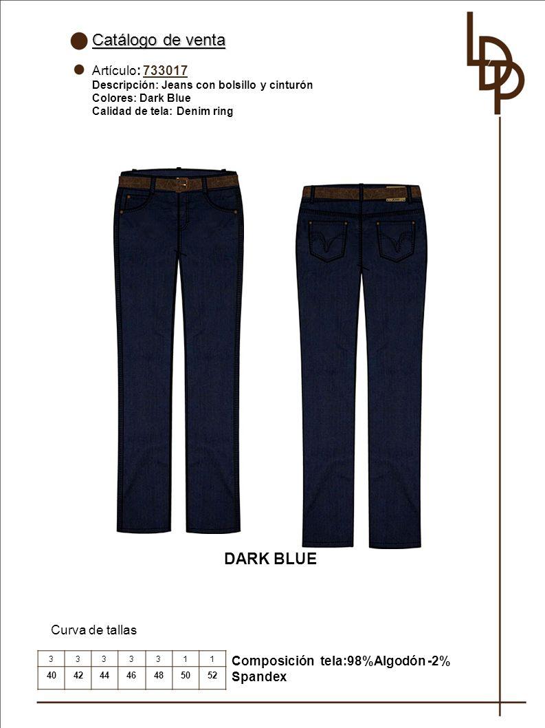 Catálogo de venta DARK BLUE Artículo: 733017 Curva de tallas