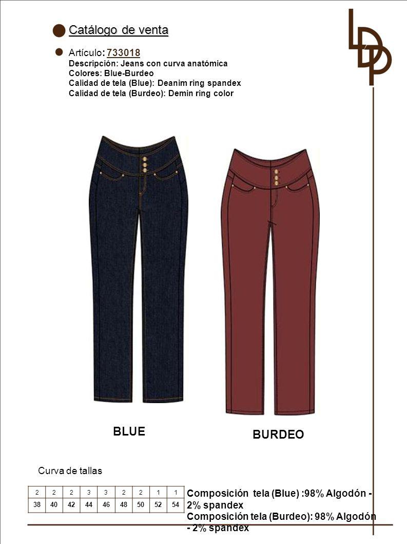Catálogo de venta BLUE BURDEO Artículo: 733018 Curva de tallas