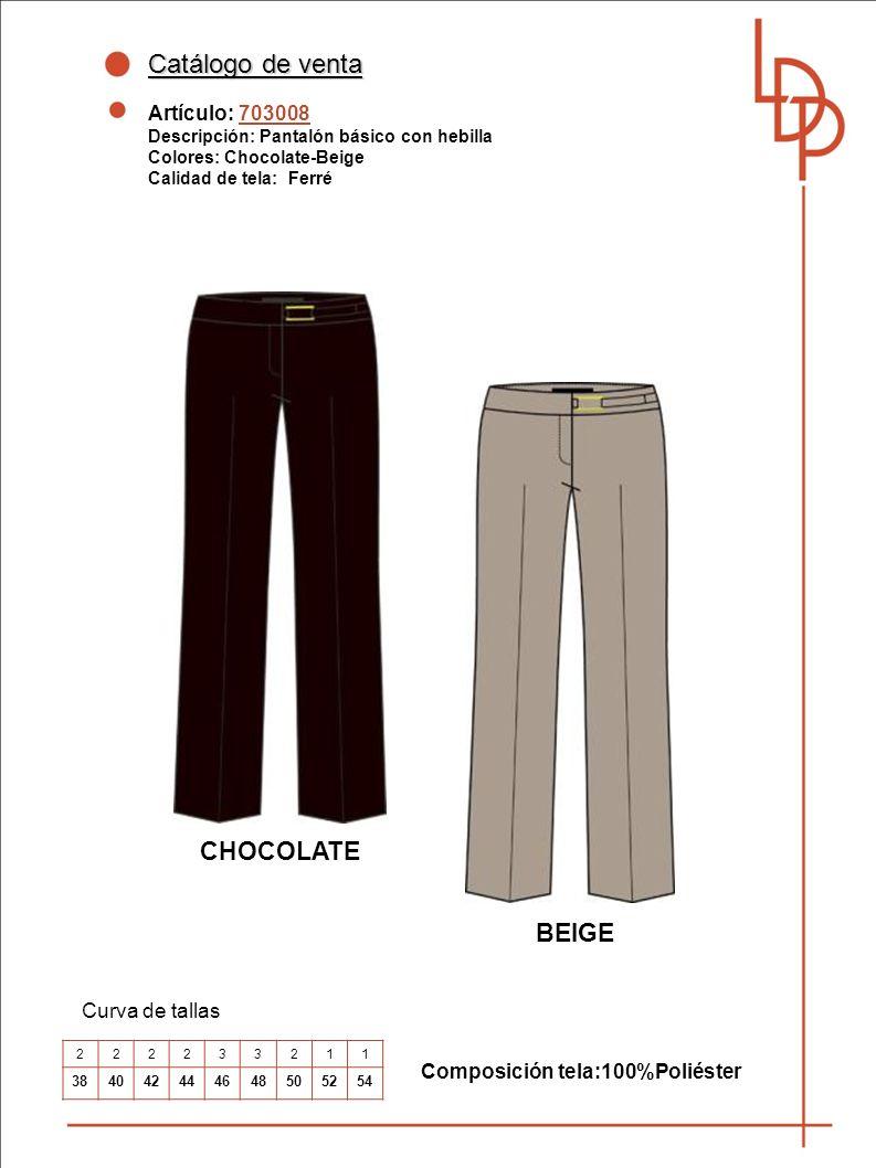 Catálogo de venta CHOCOLATE BEIGE Artículo: 703008 Curva de tallas