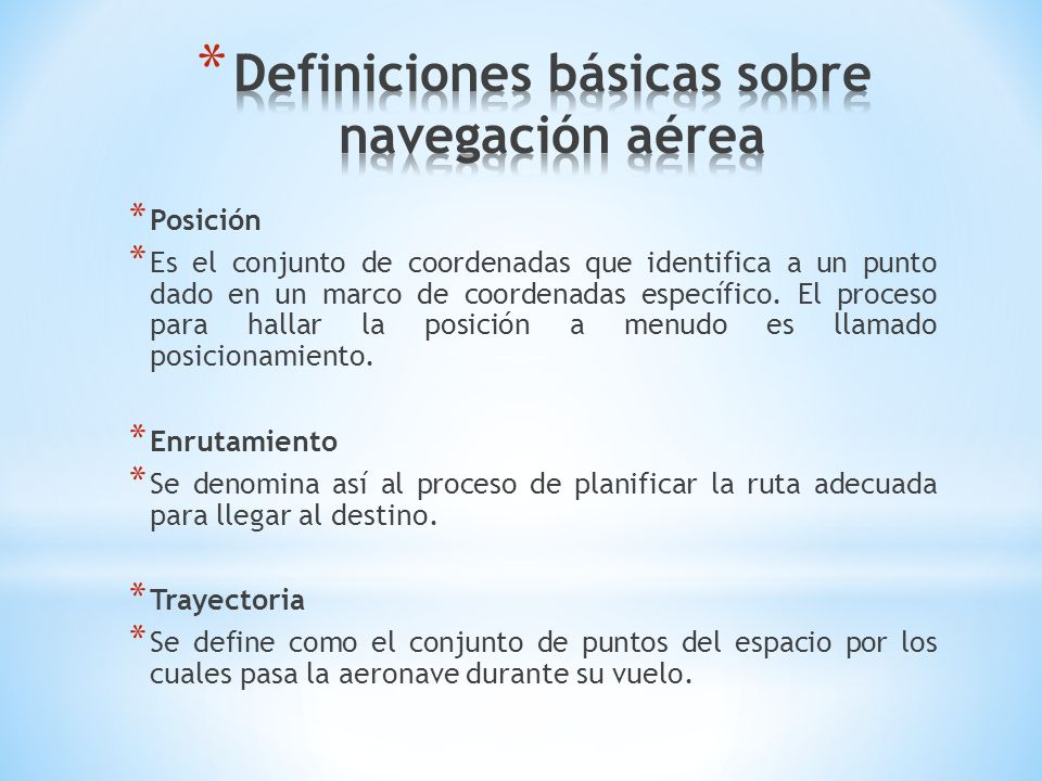 Definiciones básicas sobre navegación aérea