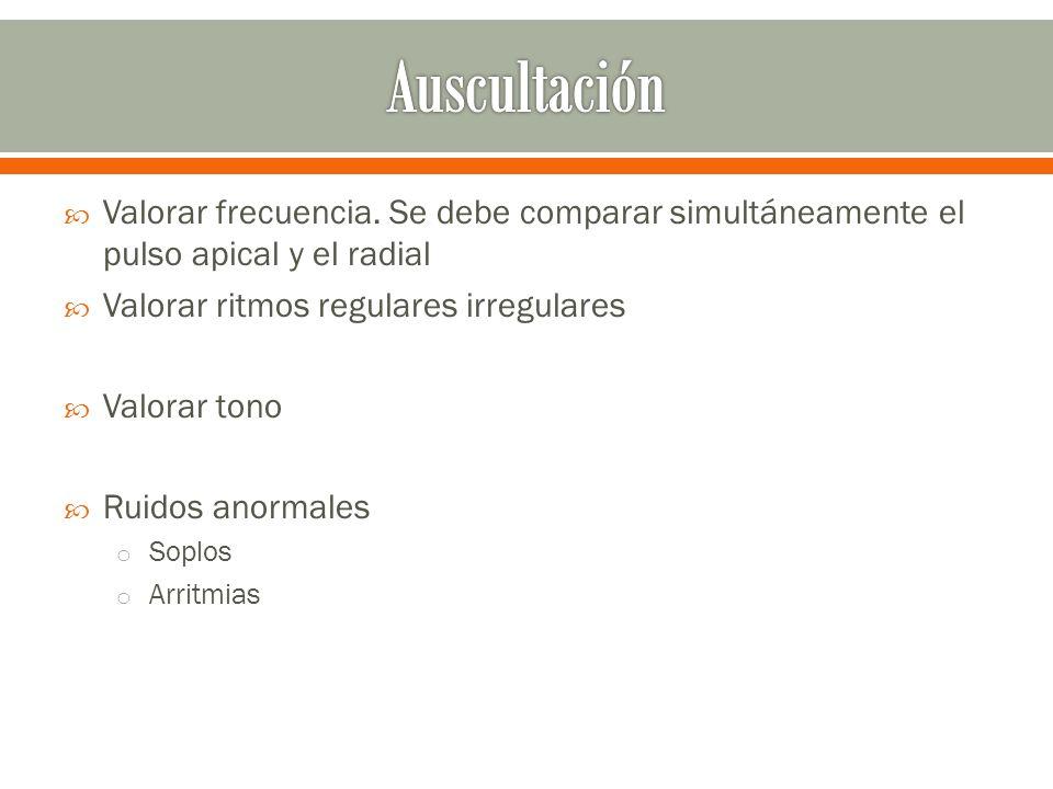 Auscultación Valorar frecuencia. Se debe comparar simultáneamente el pulso apical y el radial. Valorar ritmos regulares irregulares.