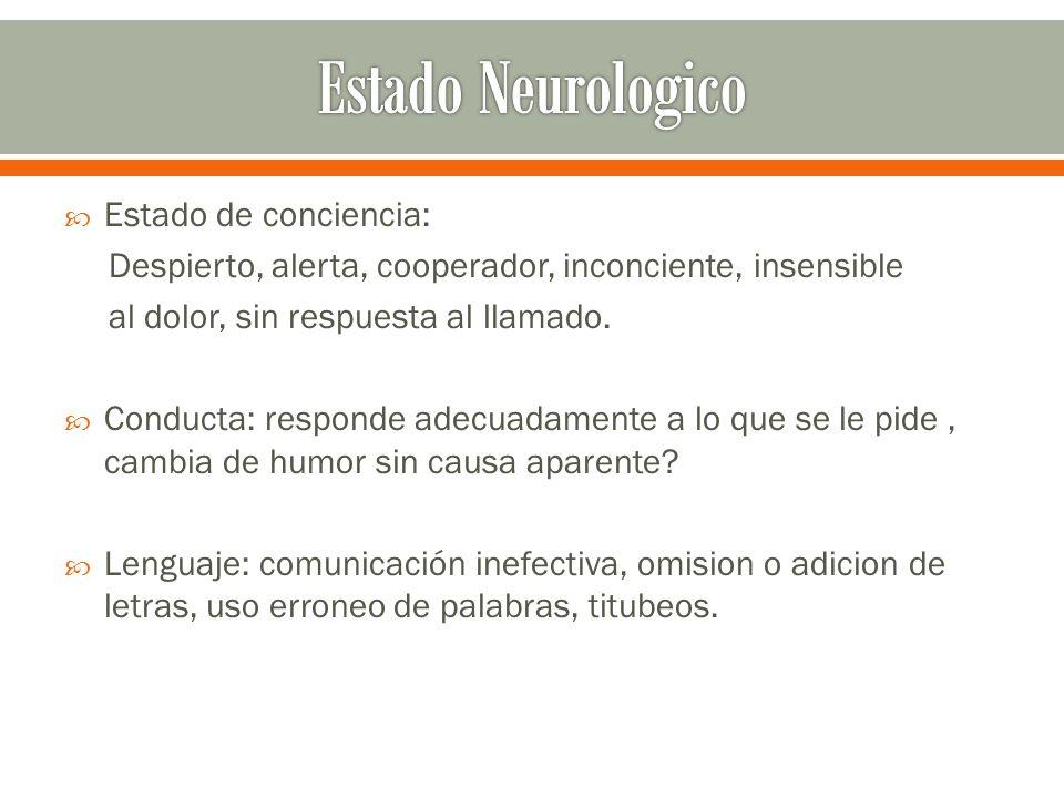 Estado Neurologico Estado de conciencia: