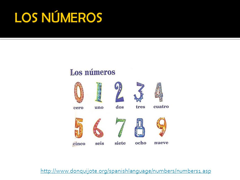 LOS NÚMEROS http://www.donquijote.org/spanishlanguage/numbers/numbers1.asp