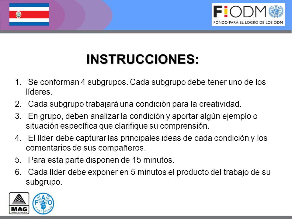 INSTRUCCIONES: Se conforman 4 subgrupos. Cada subgrupo debe tener uno de los líderes. Cada subgrupo trabajará una condición para la creatividad.
