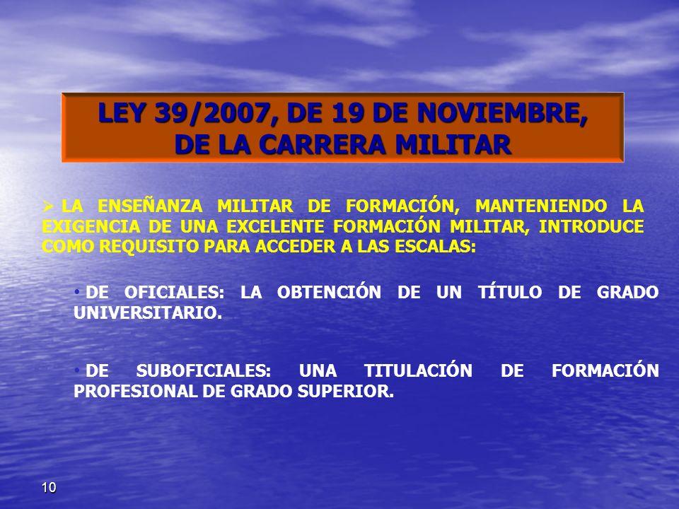 LEY 39/2007, DE 19 DE NOVIEMBRE, DE LA CARRERA MILITAR
