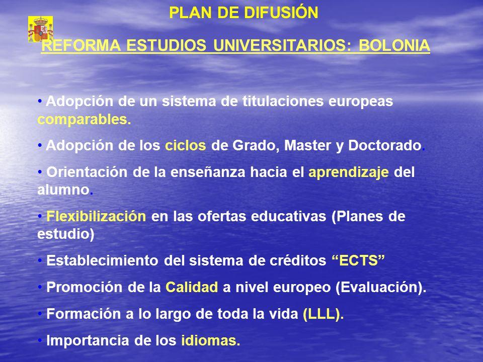 REFORMA ESTUDIOS UNIVERSITARIOS: BOLONIA