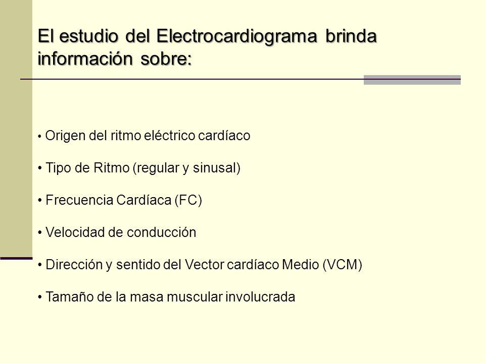 El estudio del Electrocardiograma brinda información sobre: